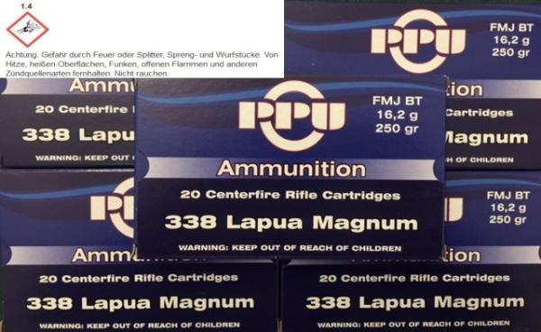 PPU .338 Lapua Magnum, 250grs VM BT, 20 Stück