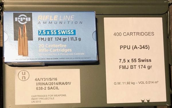 PPU 7,5x55 Swiss, 174grs VM in Nato-Kiste, 400 Stk.