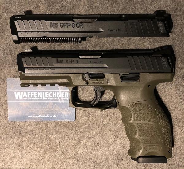 Angebot! Heckler & Koch SFP9 O.D. green mit Wechselsystem SFP9 Optical Ready, alle in 9mm Luger