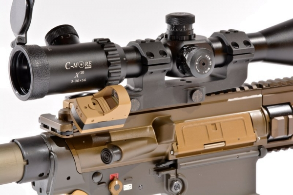 WL-Winkelmontage Picatinny in RAL8000 inkl. Docter Sight, exklusiv bei Waffen Lechner!