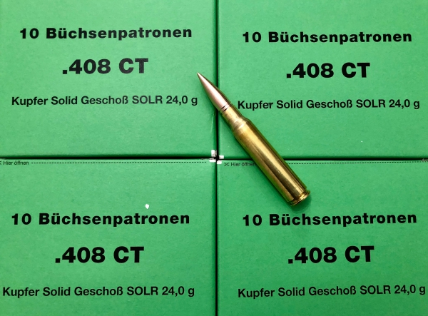 DO .408 CheyTac 24g Kupfer Solid, 10 Stück