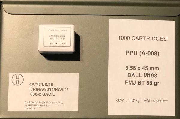 PPU .223 Rem. 55grs VM in Nato-Kiste, 1000 Stk.