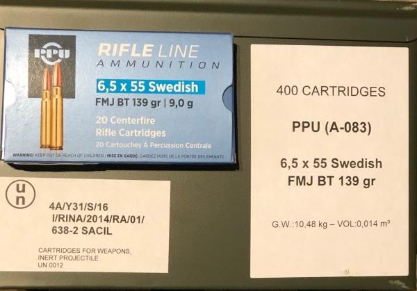 PPU 6,5x55SE 139grs VM in Nato-Kiste, 400 Stk.